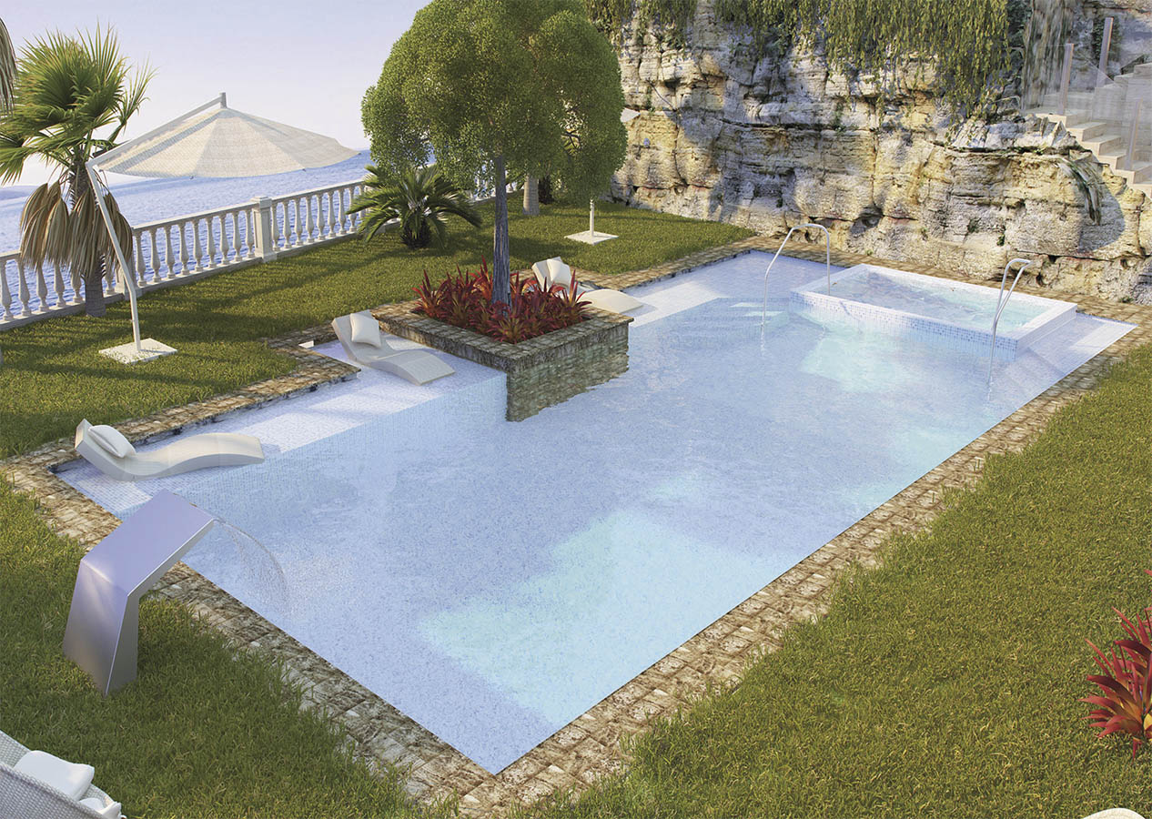 Villa Cala D'Ór El Campello 3D representation of luxury garden and swimming pool, luxury house, new building,  marble swimming pool