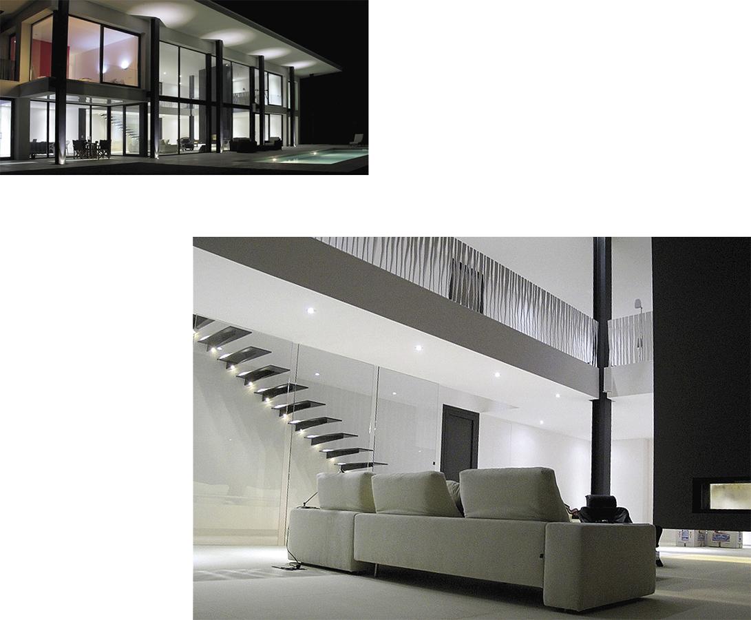 Villa Bella Mutxamiel principal loung and facade night fotograph, new building Alicante Campello